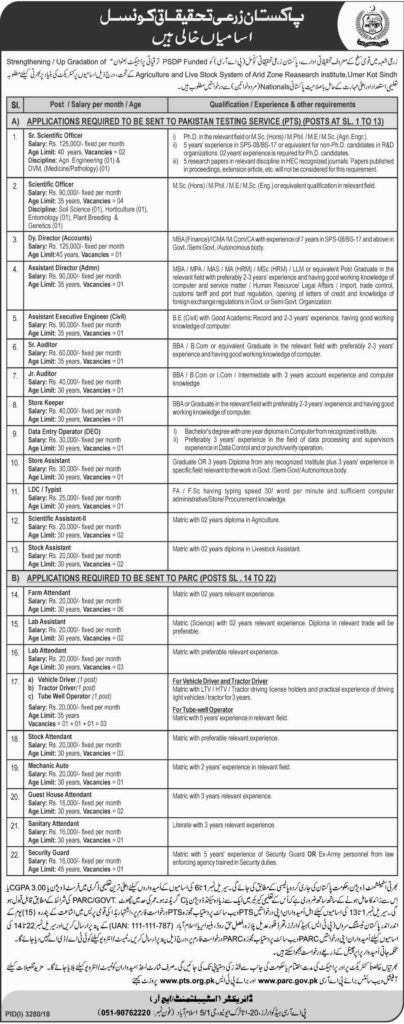 Latest Jobs In PARC Pakistan Agriculture Research Council