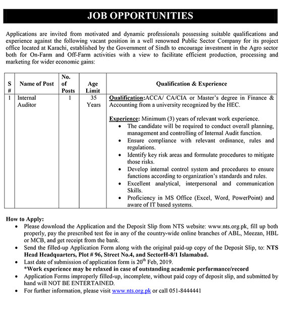 Latest Jobs in Public Sector Organization NTS Jobs 2019