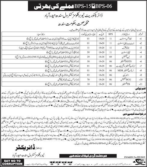 Jobs In Health Department Government of Sindh NTS Jobs 2019