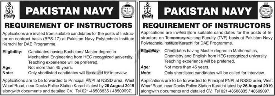 Jobs In Pak Navy For Instructors August 2019